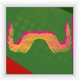 "PTM Images Pink & Yellow Moustache Framed Giclee Print - 10"" x 10\"""