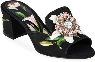 Dolce & Gabbana Lilium Jeweled Slide Sandals