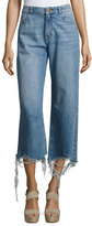 DL1961 Hepburn High-Rise Wide-Leg Jeans with Shredded Hem, Slate