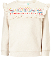 John Lewis Girls' Embroidered Ruffle Sweatshirt, Gardenia