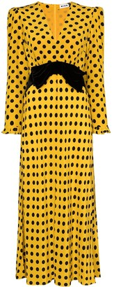 Rixo Elodie polka dot bowtie dress