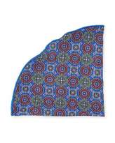 Edward Armah Medallion & Glen Plaid Silk Pocket Circle, Blue