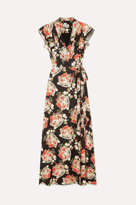 Paul & Joe Ruffled Floral-print Crepe Wrap Midi Dress - Black