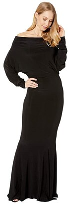 KAMALIKULTURE by Norma Kamali All-In-One Fishtail Gown (Black) Women's Clothing