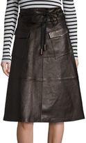 SET Leather Midi Skirt