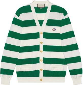 Gucci Striped knit cotton cardigan with GG