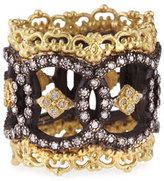 Armenta Midnight & 18k Yellow Gold Open Scalloped Crivelli Ring with Diamonds