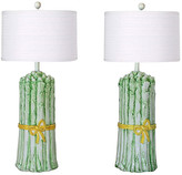 One Kings Lane Vintage Italian Asparagus Table Lamps - a Pair - I Dream in Vintage - green/white/yellow