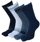TULIPTREND Men's Classic Lightweight Cotton Toe Socks Crew 4-Pack Five Fingers