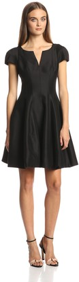 Halston Women's Silk Faille Capsleeve Tulip Hem Cocktail Dress