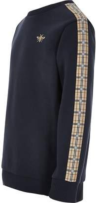 River Island Boys navy check tape sweatshirt