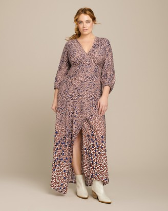Yigal Azrouel Falling Leaf Printed Twill V-Neck Dress