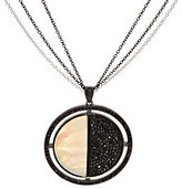 Mother of Pearl QVC 2.00 ct tw Black Spinel & Sterling Pendant w/Chain
