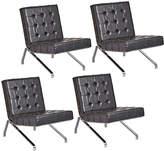Rejuvenation Set of 4 Mid-Century Airport Chairs w/ Black Vinyl & Chrome