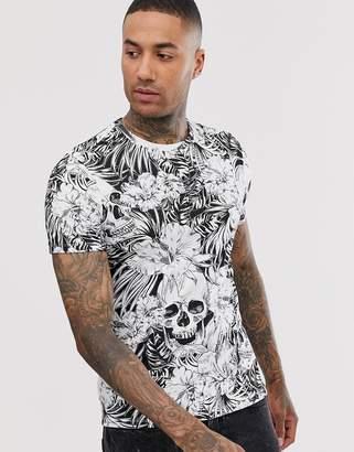 Bershka floral print t-shirt-Multi