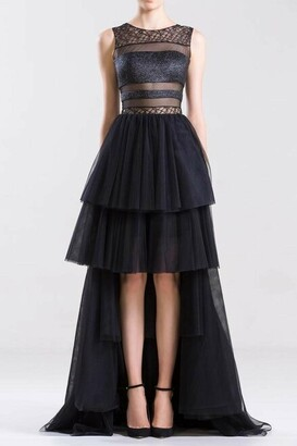 Saiid Kobeisy Sleeveless Tulle Embroidered Tiered Gown