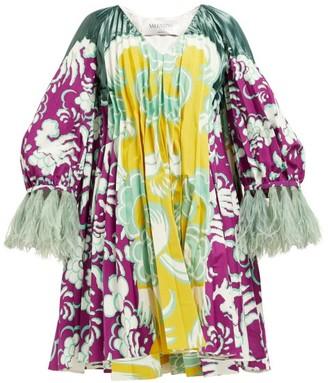 Valentino Abstract-print Cotton Blend-faille Mini Dress - Purple Multi