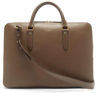 Smythson Ludlow Grained-leather Briefcase - Dark Green