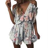 Assivia Women's Sexy Strap Rompers V neck Floral Print Beach Shorts Jumpsuit Playsuit (L, )