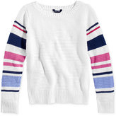 Tommy Hilfiger Striped-Sleeve Sweater, Big Girls (7-16)