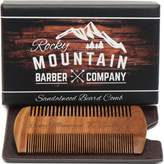 Rocky Mountain Barber Company Beard Comb - Natural Organic Sandal Wood for Hair - Scented Fragrance Smell with Anti-Static & No Snag, Handmade Fine Tooth Brush Best for Beard & Moustache Packaged in Premium Giftbox