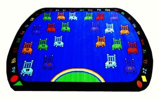 Kids World Carpets Chairs Power Loomed Blue Area Rug