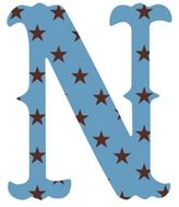 "Wall Candy Arts WallCandy Arts WallCandy Luv Letters Stars Letter ""N"" Wall Decal in Blue"