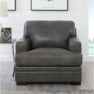 17 Stories Werner 100% Leather Armchair