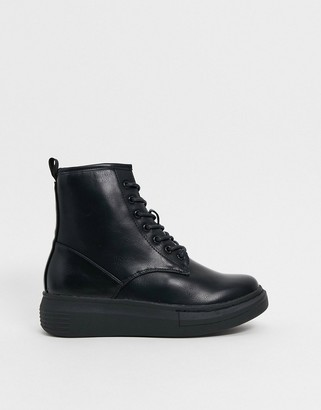 Truffle Collection faux leather military boots in black