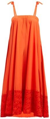 Fendi Floral-embroidered Cotton Dress - Womens - Orange