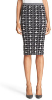 Alice + Olivia &Delphie& Wool Knit Houndstooth Pencil Skirt