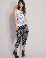 Printed Drawcord Harem Pants