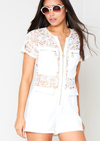 Missy Empire Joslin White Crochet Playsuit