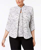 Alex Evenings Plus Size Printed Mandarin Jacket and Shell