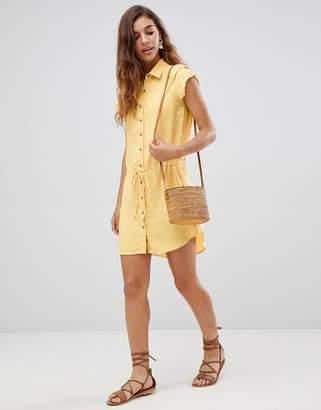 Gilli shirt dress with drawstring waist-Yellow