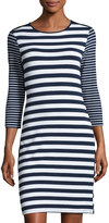 Neiman Marcus Striped Laced-Side 3/4-Sleeve Dress, Blue/White