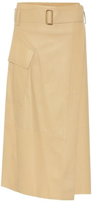 Vince High-rise leather midi wrap skirt