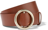 Frame Circle Leather Belt - Brown