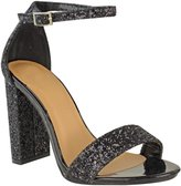 Fashion Thirsty Womens Block High Heel Ankle Strap Glitter Sandals Party Prom Shoes Size 5