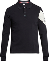 Moncler Gamme Bleu Chevron-print long-sleeved cotton polo shirt