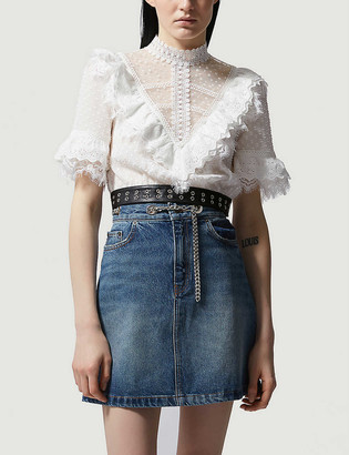 The Kooples Lace-embellished woven top