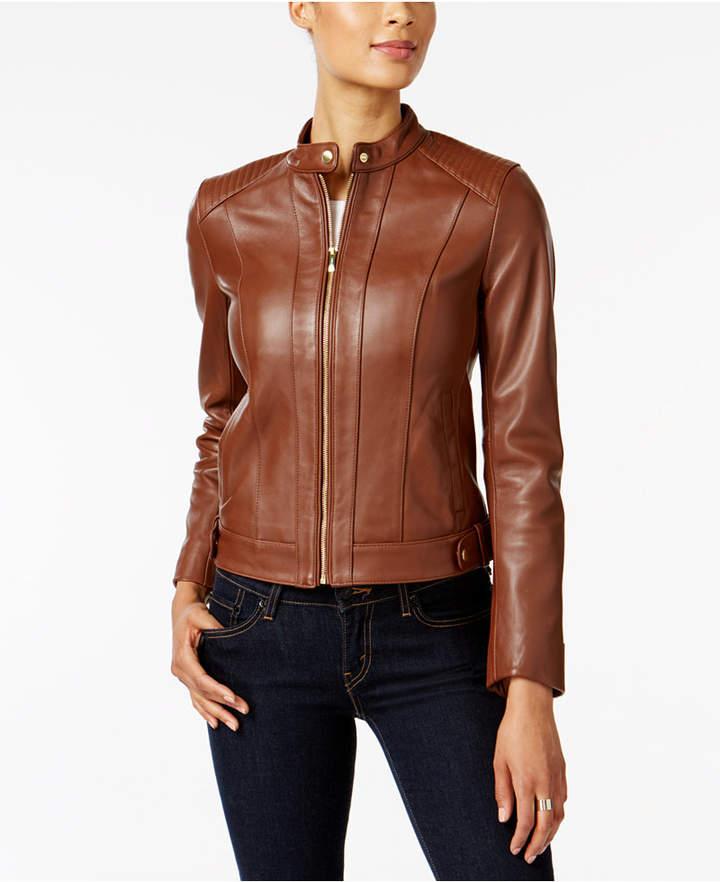 Cole Haan Leather Moto Jacket