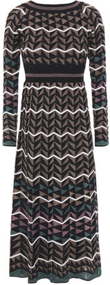 M Missoni Crochet-knit Wool-blend Midi Dress