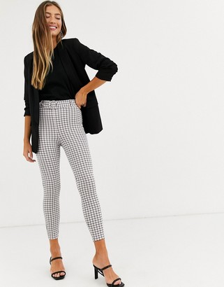 ASOS DESIGN micro check skinny trouser with self covered belt