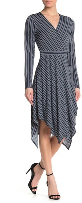 BCBGMAXAZRIA Striped Wrap Knit Dress