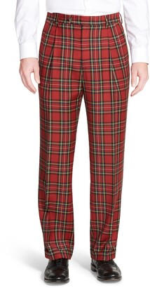 Berle Pleated Classic Fit Plaid Wool Trousers