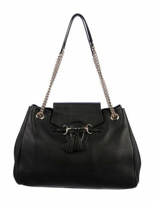 Gucci Leather Emily Chain Flap Bag Black
