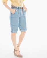 Chico's Casual Roll-Cuff Shorts in Chambray - 11 Inch Inseam