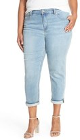 Melissa McCarthy Plus Size Women's Stretch High Rise Crop Girlfriend Jeans