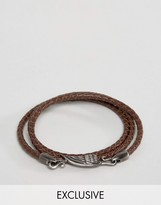 Simon Carter Brown Leather Wing Wrap Bracelet Exclusive To ASOS